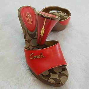 Coach Kathie Orange Sz 7.5 Wooden Platform Sandals